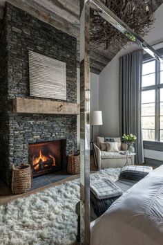 45 Smart And Minimalist Modern Master Bedroom Design . Simple Bedroom Ideas For Parents Bedroom Ideas. Home and Family Fireplace Design, Bedroom Fireplace, Cozy Fireplace, Modern Fireplace, Grey Stone Fireplace, Fireplace Pictures, Stone Fireplaces, White Fireplace, Fireplace Ideas