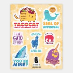 Animal Pun Stickers #art #decor #design #stickers #fun #trendy #animals #puns #cute #funny #love #tacocat