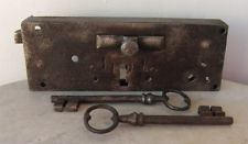 Antique FRENCH IRON CHATEAU LOCK & Two Working KEYS C1700s