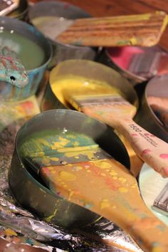 Encaustic paint = beeswax + resin + pigment from the studio of Natalie Salminen Rude