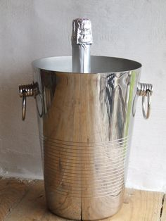 Very Tall Shiny Chrome Champagne Ice bucket by VintageRetroOddities on Etsy