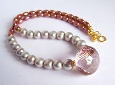 Huge pink Rock Crystal Freshwater Pearl Necklace in Gold Vermeil , Pink and Gray