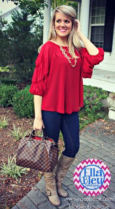 Wine is the PERFECT Fall color! Steal this look from Ella Bleu Boutique on FB!