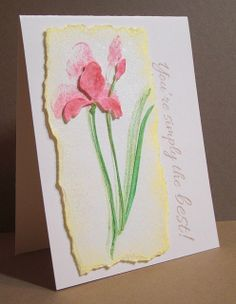 handmade card ... luv the impressionistic look of the stamping topped with the inked die cut ... torned panel ... watercolor paper ... beautiful ... Penny Black stamp and die ...
