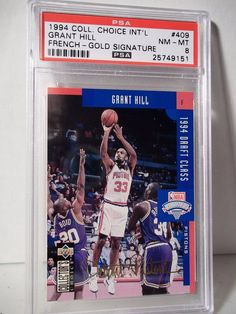 44e546a2ec4 1994 Collector s Choice French Gold Grant Hill PSA NM-MT 8 Basketball Card   409  DetroitPistons. Mike Mullens