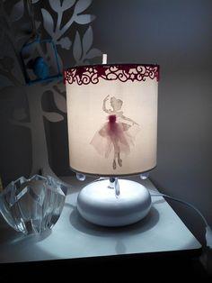 Lampe chevet ceramique enfant personnalisée prénom blanche danseuse baroque