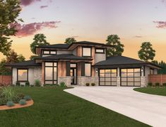 A modern house plan with exciting curb appeal and a charming interior. This light filled home has a central light core window arrangement near the top of the 16 foot great room ceiling that floods the home with daylight at all hours of the day. Beach House Plans, Modern House Plans, Modern House Design, Big Modern Houses, Contemporary House Plans, Prairie Style Houses, Dream House Exterior, House Goals, My New Room