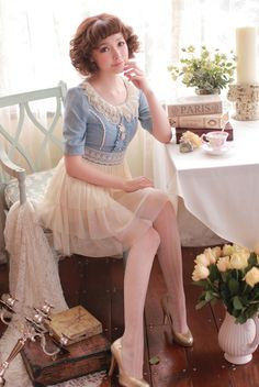 Baby blue + chiffon skirt lolita/gyaru style dress - Can't find it for sale anymore but it's super cute! Gyaru Fashion, Harajuku Fashion, Kawaii Fashion, Lolita Fashion, Cute Fashion, Asian Fashion, Vintage Fashion, Estilo Lolita, Alternative Mode