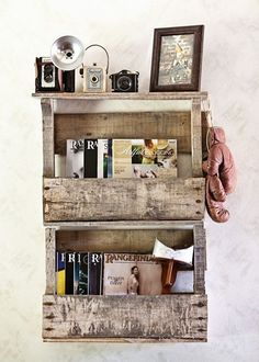 Find the pallet shelves that would fit and suit your situation and might give you ideas to create better storage and organizing purposes.