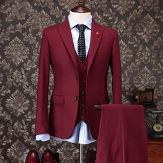 Fashionable Two Button Dark Red Groom Tuxedos Groomsmen Mens Wedding Suits Prom Bridegroom (Jacket+Pants+Vest+Tie) NO:1180 - http://fashionfromchina.net/?product=fashionable-two-button-dark-red-groom-tuxedos-groomsmen-mens-wedding-suits-prom-bridegroom-jacket-pants-vest-tie-no-1180