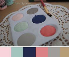 barely pink + robins egg + navy + dark blush + grey + greige