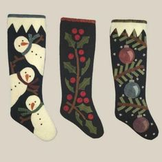 3 Christmas Stockings By All Through The Night , Wool/Penny Rug Patterns Felt Christmas Stockings, Christmas Stocking Pattern, Felt Stocking, Stocking Ideas, Penny Rug Patterns, Wool Applique Patterns, Felt Applique, Felted Wool Crafts, Felt Crafts