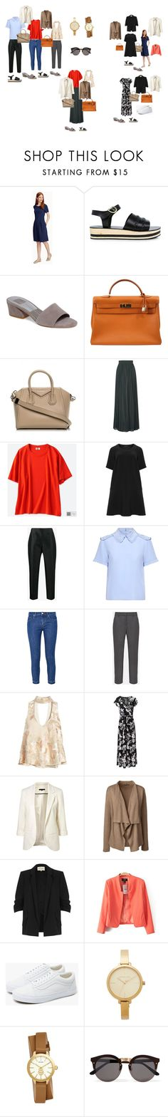 """""""combinations_hot"""" by hippie-h ❤ liked on Polyvore featuring Contemporaine, Ancient Greek Sandals, Dolce Vita, Hermès, Givenchy, Amanda Wakeley, Uniqlo, Manon Baptiste, Prada and RED Valentino"""