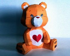 Care Bears - Tenderheart Paper Model - by PMF / Paper Pókes Paper Crafts Origami, 3d Paper, Paper Toys, Low Poly, Care Bears, Biscuit, Paper Models, Unusual Gifts, Craft Items