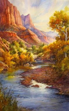 Virgin Beauty in Zion , Watercolor Painting of Virgin River in Zion National Park by Roland Lee - Watercolor Paintings by Roland Lee