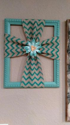 Burlap cross made with a repurposed picture frame by patsy