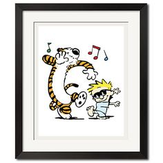 Calvin and Hobbes Dancing with Joy Poster Print by Wallartxshop, $49.99