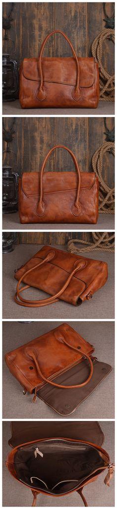 ROCKCOW Women's Vintage Genuine Leather Tote Shoulder Bag Satchel Bag Messenger Bag 90011