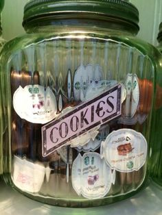Large Green Depression Ribbed Cookie Jar-Good way to store those K-cups!