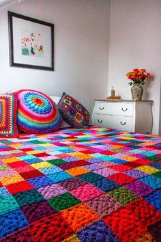 "According to Matt...Latest ""Granny Square Blanket""...beautiful!:"