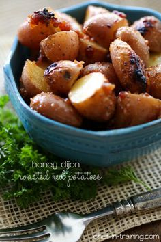 Honey Dijon Roasted Red Potatoes from chef-in-training.com …These potatoes are an INCREDIBLE side dish for any meal! Our family loves them!