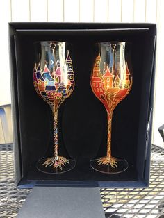 Set of two wine glasses hand painted with by PaintedGlassGifts