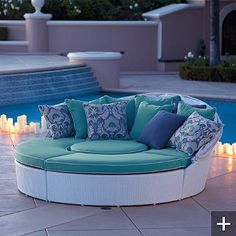 This reminds me of an outdoor patio set that I fell in love with, I love the circular idea and being able to use a single piece in many ways!