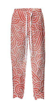 Peach echo and white swirls doodles Pajama Pant by @savousepate on @printalloverme