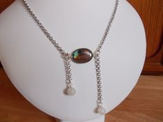 Labradorite and moonstone chain drop necklace £10.00
