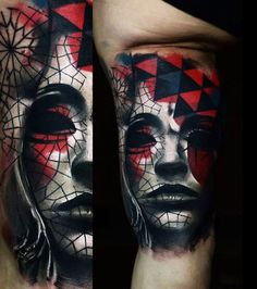 Abstract Face Tattoo by Timur Lysenko | Tattoo No. 12711