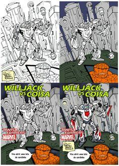Projeto HQs - Hasbro e Marvel, Transformers e a Coisa. Nankin sobre papel (desenho livre), coloração Photoshop - Mesa digital.