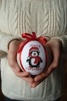 Christmas tree ornaments Hand embroidered ball Cross stitch penguin image Christmas gift idea for children coworker  hostess mom sister