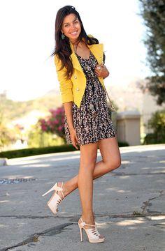 4. Yellow Blazer With Printed Dress 2017 Street Style