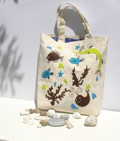 Hand embroidered applique Canvas tote bag natural di Apopsis, $80.00