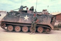 An M113 Armored Personnel Carrier attached to the 9th Infantry Division at Camp Dong Tam.
