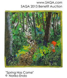 Art quilt by Noriko Endo SAQA's Online Benefit Auction is our most important… Art Quilting, Quilt Art, Textile Fiber Art, Textile Artists, Japanese Quilts, Bird Quilt, Spring Tree, September 9, Landscape Quilts
