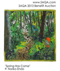 Art quilt by Noriko Endo  SAQA's Online Benefit Auction is our most important fundraiser. View all the beautiful art quilts donated by our members! The online auction begins Monday, September 9, at 2 PM EST. For more information visit www.saqa.com.