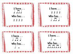 I Have/Who Has Quarter, Eighth, and Half Note/Rest Rhythm Game - Amy Martin - TeachersPayTeachers.com