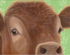 Cow   Cow Painting  Cow Art  Red Cow  Original Cow Art
