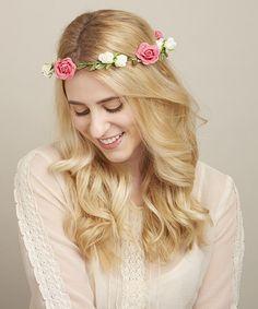 Love this Pink & White Rose Halo Headband on #zulily! #zulilyfinds
