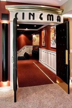 """I love the idea of headers over the doors ... especially rooms like """"library"""" or """"cinema"""""""