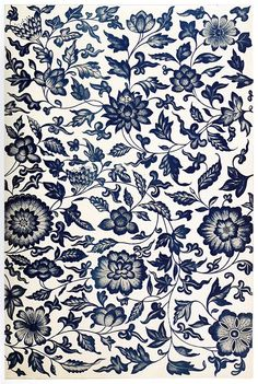 Pattern from a blue and white China bottle, from 'Examples of Chinese Ornament', by Owen Jones, London, Cool design for a tattoo Pattern Floral, Motif Floral, Pattern Art, Floral Prints, Floral Design, Pretty Patterns, Beautiful Patterns, Color Patterns, Vintage Patterns