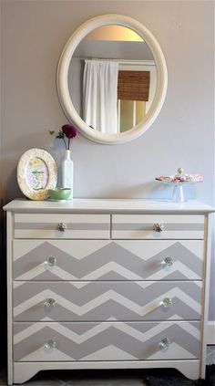 We could do something like this with a refurbished dresser. gray dresser chevron stripes painted