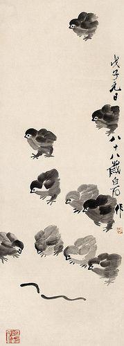 Chicks - by Qi Baish (1864 - 1957), China