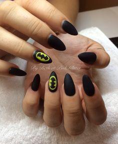 Batman Matte Nail Art