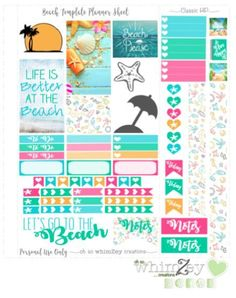 Free Printable Beach Planner Stickers from ohsowhimzey