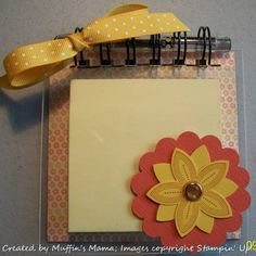 Acrylic cover for post it notes using bind it all and decoupage to adhere paper to chipboard