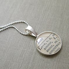 Amour Love Sterling Silver Round Necklace by dlkdesigns