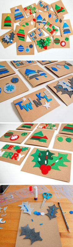 DIY Felt Christmas Cards | Click for 20 DIY Christmas Card Ideas for Families | DIY Christmas Cards for Kids to Make
