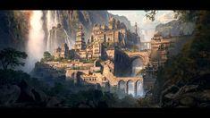 Fun Landscaping Inspiration – My Best Rock Landscaping Ideas Fantasy City, Fantasy Castle, Fantasy Places, High Fantasy, Fantasy World, Elves Fantasy, Fantasy Art Landscapes, Fantasy Paintings, Fantasy Landscape